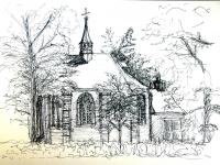 2007, Kerkje Nuenen achterkant, acryl, 35x50cm