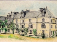 2009, Chateau de Chambiers, inkt en pastel, 32x58cm
