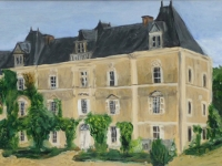 2009- Chateau de Chambiers, acryl op karton, 28x55cm