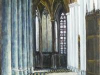 2009- Kerkinterieur-bl Amiens-Cathédrale Notre Dame, acryl, 50x70cm