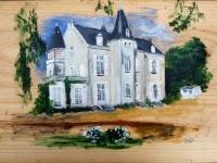 2010-Chateau de la Villaine-entree, acryl-paneel, 30x50cm
