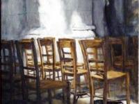 2010, Kerkstoelen Beauvais Cath.Saint-Pierre, acryl, 50x70cm