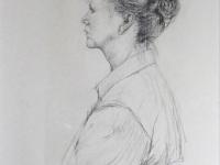 2002- vrouw met opgestoken haar- 40x60cm- houtskool op Ingrespapier