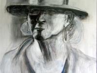 2005- vrouw met hoed- 70x100cm-houtskool en acryl op karton